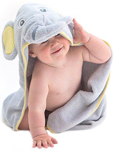 Little Tinkers World Baby-Badetuch / Kapuzenhandtuch im Elefanten-Design – 100% Flauschige Baumwolle – Perfekt als Geschenk für Neugeborene, Säuglinge, Kleinkinder, Mädchen & Jungen, 75x75 cm