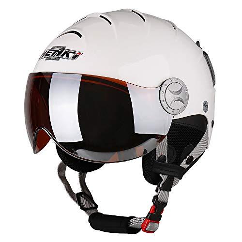 NENKI Helme NK-2012 Skihelm mit Visier für Damen und Herren zum Skifahren und Schneemobilfahren (Weißes, Oranges Visier, M)