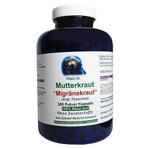 Mutterkraut'Migränekraut' 360 Pulver Kapseln NATUR PUR #26308   NICHT hochdosiert. KEIN EXTRAKT. OHNE ZUSATZSTOFFE. OHNE FÜLLSTOFFE! Hergestellt und abgefüllt in Deutschland.