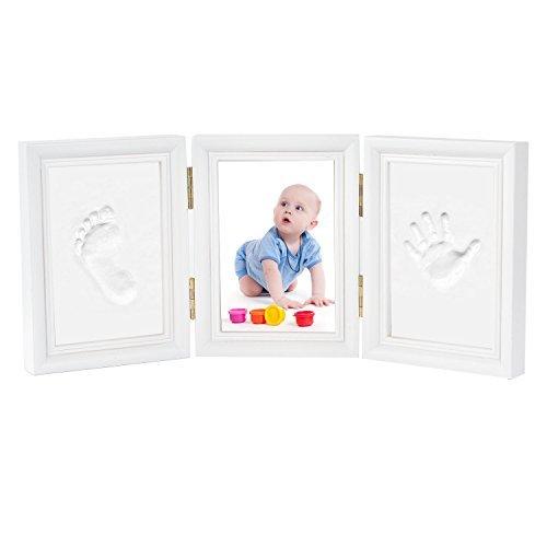 Bilderrahmen Newlemo Baby Handabdruck und Baby fußabdruck DIY Set Abdruck des Rahmen Geschenk (3 teile, weiß)
