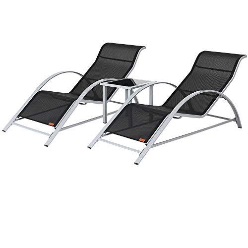 Casaria Lounge Set Siena | 2X Liege inkl. Tisch Stahl 3 TLG | Gartenliege Sonnenliege Liegestuhl Poolliege Relaxliege