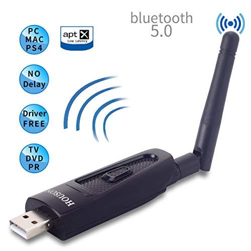 HOUSON USB Bluetooth 5.0 Adapter, Bluetooth Sender Transmitter mit 3.5mm AUX Kabel für TV Laptop, aptX Low Latency, Plug&Play Dual Link für 2 Kopfhörer Lautsprecher
