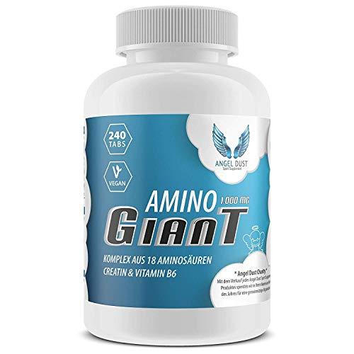 AMINO GIANT - Komplex aus 18 Aminosäuren inkl. 8 EAA + Creatin & Vitamin B6 | 240 vegane Tabletten - Hochdosiert mit je 1000mg für 40 Tage | Protein-hydrolysat - Made in Germany