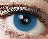 Farbige Kontaktlinsen 3 Monatslinsen hellblau blau 'Sky Blue' gute Deckkraft ohne Stärke mit Aufbewahrungsbehälter