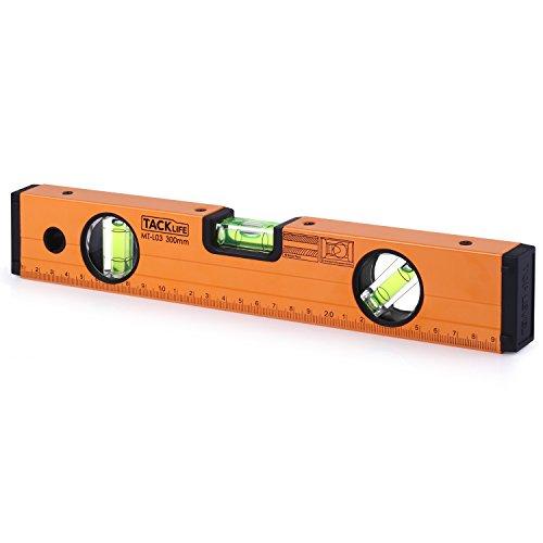 Tacklife MT-L03 Klassischer Wasserwaage mit Magnet und horizontaler, vertikaler und 45-Grad-Libelle( Genauigkeit: 0.75 mm / m Größe: 300 mm)