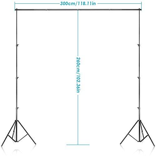 Neewer Hintergrund Unterstützungssystem 2.6M x 3M/8.5ft x 10ft Set mit Tragetasche für Muslins Hintergrund, Papier and Canvas