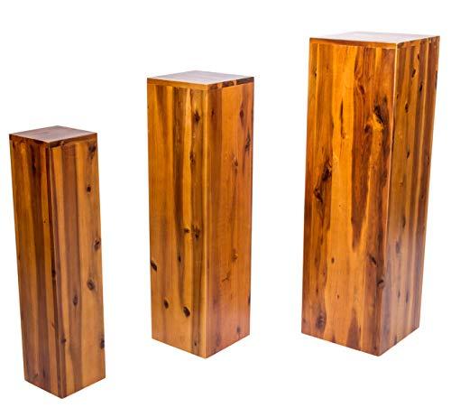 SAM Blumensäule Enie mittel, Akazie, FSC 100% Zertifiziert, Blumenständer aus Holz, lackiert, 20 x 20 x 75 cm