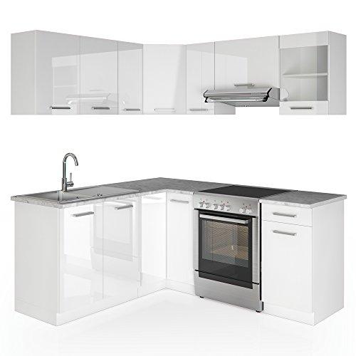VICCO Winkelküche Küchenzeile 190 x 170 cm - Weiß Hochglanz - Küche in L-Form Küchenblock Einbauküche Komplettküche Eckküche - frei kombinierbare Möbel-Module