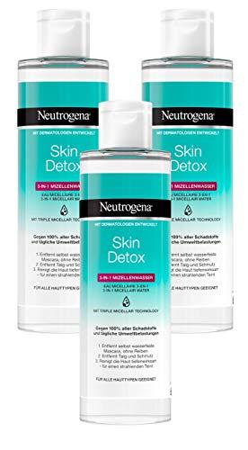 Neutrogena Skin Detox 3-in-1 Mizellenwasser, sanfte Gesichtsreinigung mit 3-fach-Effekt (3 x 400 ml)