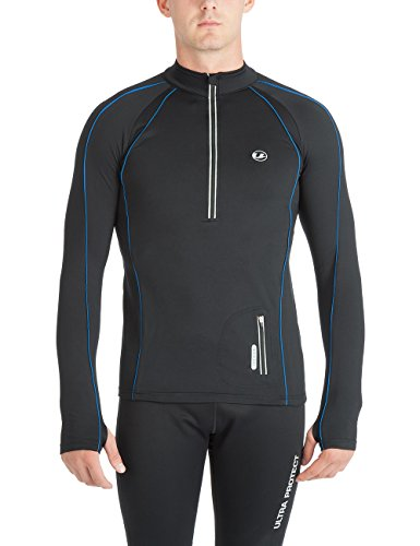 Ultrasport Herren Running Shirt Jimi, Schwarz/Blau, XL