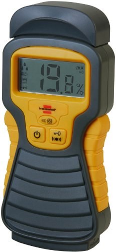 Brennenstuhl Feuchtigkeits-Detector MD (Feuchtigkeitsmessgerät/Feuchtigkeitsmesser für Holz oder Baustoffen, mit LCD-Display) anthrazit/gelb