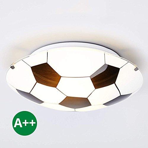 Lampenwelt Fußball Deckenleuchte 'Fußball' dimmbar (Modern) in Weiß aus Glas u.a. für Kinderzimmer (1 flammig, E27, A++) | Fußballdesign, Kinderlampe, Fußballlampe Kinder-Deckenleuchte, Deckenlampe, Lampe, Kinderzimmerleuchte