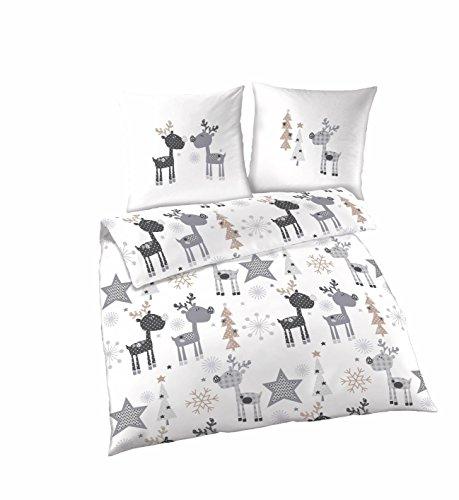 Elche silber weiß Bettwäsche Set | 100% Baumwolle | Bettwäsche 135x200 cm & Kissenbezug 80x80 cm | Kuschelige Bettwäsche