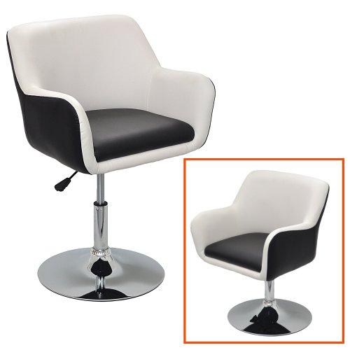 ts-ideen 1x Barhocker Design Lounge Sessel in Schwarz-Weiß Barsessel Clubsessel Drehsessel D07
