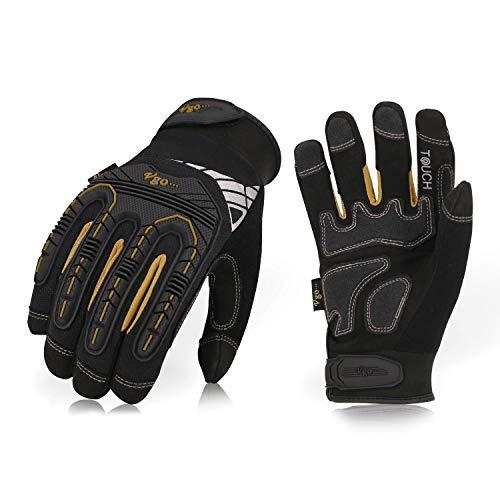 Vgo hohe Mechnische Arbeitshandschuhe, für große Belastungsarbeit, Vibration-Schutz-Handschuhe, Heavy Duty (1 Paar, 8/M, Schwarz + Gold, SL8849)