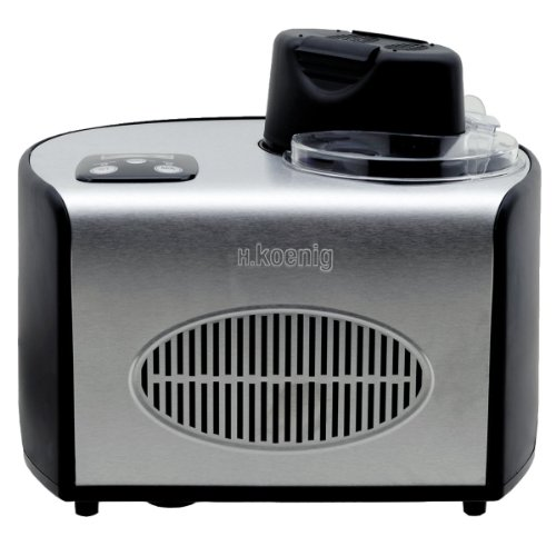 H.Koenig HF250 Eismaschine/Kapazität 1,5 L/8 Portionen/Kalthaltefunktion/Touchpad-Bedienung/150 W/Edelstahl/schwarz
