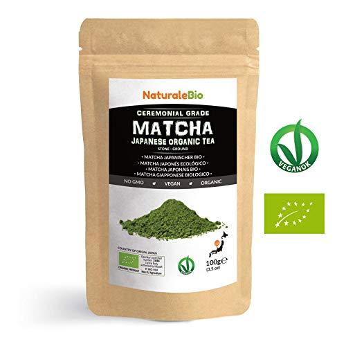 Matcha-Tee-Pulver-Bio [ Ceremonial Grade ] Original Green Tea aus Japan | Grüntee-Pulver Matcha Zeremonie-Qualität, hergestellt in Uji, Kyoto | Ideal zum Trinken, Kochen und in der Latte | 100g Dose.