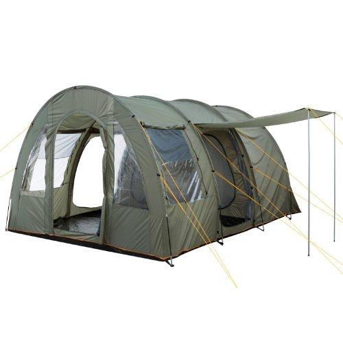 CampFeuer Campingzelt für 4 Personen | Großes Familienzelt mit 3 Eingängen und 5.000 mm Wassersäule | Tunnelzelt | olivgrün | Gruppenzelt | So macht Camping Spaß!