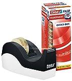 tesa Easy Cut Orca Tischabroller (rutschfest, einfache Handhabung, sauberer Schnitt mit 8 Rollen tesafilm transparent 33m:19mm)
