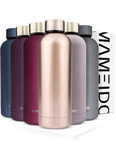 MAMEIDO Trinkflasche Edelstahl - Taupe Grau Gold - 750ml,0,75lThermosflasche - auslaufsicher, Kohlensäure geeignet, BPA frei -schlankeisolierte Wasserflasche,leichtedoppelwandige Isolierflasche
