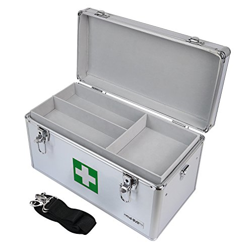 HMF 14701-09 Alu Medizinkoffer, Erste Hilfe Koffer, Tragegriff, 40 x 22,5 x 20,5 cm