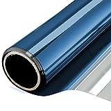 NewStar Sonnenschutzfolie | selbsthaftende Fensterfolie | UV-Schutz & Sichtschutzfolie, Kratzfest,Verdicken Materialstärke 0.1 mm (Blaues Silber, 60 x 400 cm)