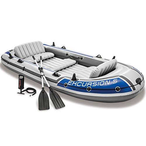 Intex Excursion 5 5-Personen-Schlauchboot mit Aluminiumruder und Luftpumpe mit hoher Ausgangsleistung