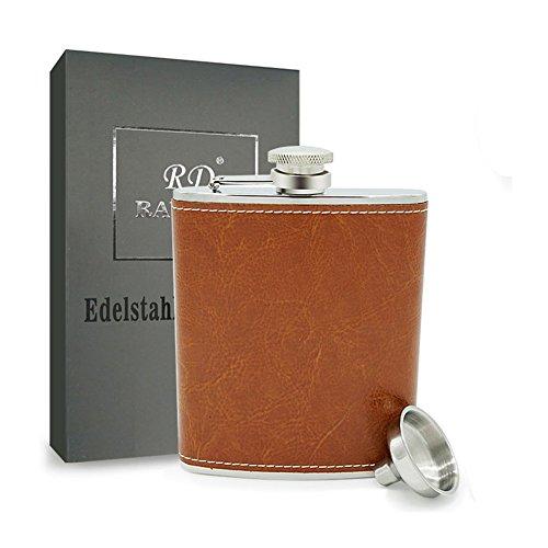 304 Edelstahl Flachmann mit Trichter Set, Rayuda Tragbare Leder Flaschen für Outdoor und Camping - 6 oz. 170.5ml - Leder