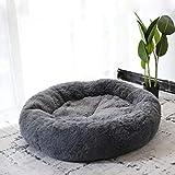 Lrhps Haustierbett für Katzen und Hunde, Super Soft Cushion Round oder Oval Donut Nesting Cave Bed Schlafbett für Katzen und Welpen