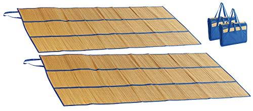 PEARL beach Bast-Strandtuch: 2er-Set Faltbare Bast-Strandmatten mit Tragegriffen, 180 x 90 cm (Bast-Picknick-Decke für Strand)