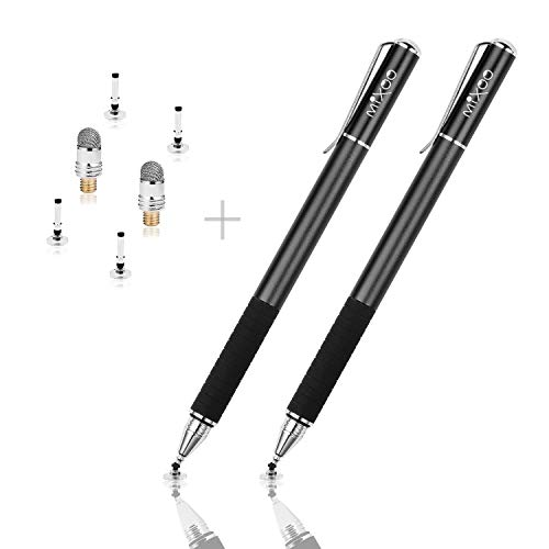 Mixoo Precision Stylus 2 in 1 Universal Capacitive Stylus Pen with 2 Replacement Fine Disc Tips,1 Spare Fibre Tip for Touch Screen Apple iPhone, iPads,Mobile Phones,Smartphones&Tablets (black*2)