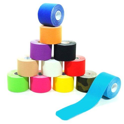 6 Rollen Kinesiologie-Tape 5 m x 5,0 cm 12 Farben, Farbe:hellblau