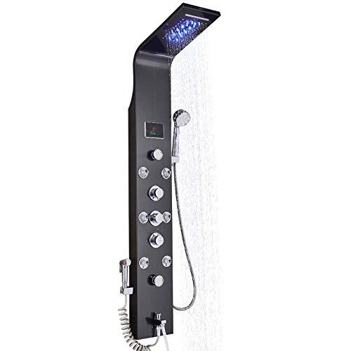 Rozin Edelstahl Duschpaneel LED Duschset Duscharmatur 6- Funktion Wassertemperatur Display mit Wasserfall Duschtopf Körper Massagedüse Handbrause und Badewanne Wasserhahn für Badezimmer