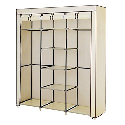 Songmics Groß XXL Kleiderschrank Faltschrank Wäscheschrank mit 2 Hakenstange beige 175 x 150 x 45 cm Drei hochrollbare Türen RYG12M