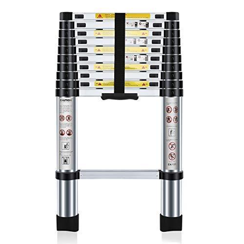 Nestling Teleskopleiter 3.2M Alu Leiter Ausziehbar Haushaltsleiter Teleskopleiter Aluminium Klappleiter Ausziehleiter Mehrzweckleiter -Maximale Belastbarkeit 150 kg