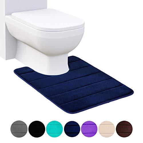 Homaxy Memory Foam Rutschfeste Weiches Vorleger Toilette mit Ausschnitt 50 x 60 cm, Saugfähig Badematte Stand WC, Badezimmer Waschbar Badteppiche für WC, Marineblau