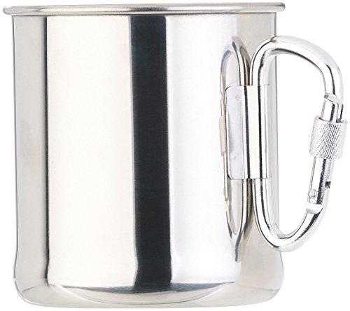 Semptec Urban Survival Technology Edelstahl Tasse: Leichter Edelstahl-Becher mit klappbarem Karabiner-Henkel, 250 ml (Becher für Campinggeschirr)