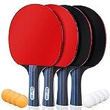 Glymnis Tischtennisschläger Tischtennis Set 4 Schläger & 8 Bälle mit 2 Nylontasche