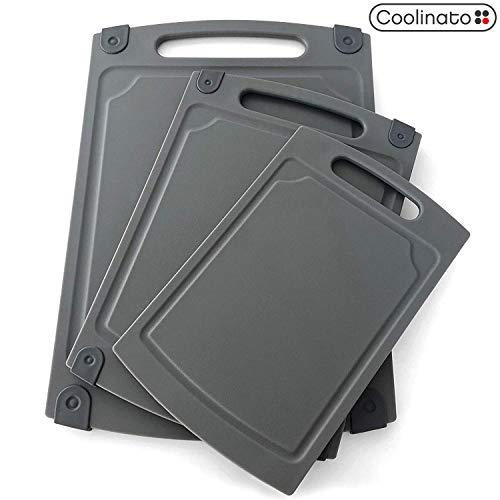 Coolinato Schneidebrett 3er Set - DREI Silikon-Bretter in unterschiedlicher Größe mit Saftrille - Antibakterielle Schneidbretter für Hygienische Trennung von Lebensmitteln