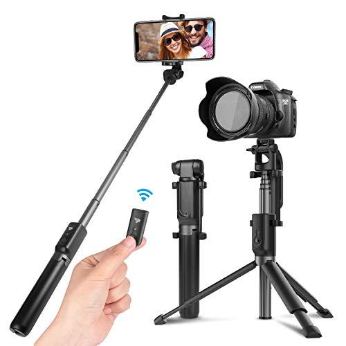 Power Theory Bluetooth Selfie Stick mit Handy und Kamera Stativ (80cm) - Selfiestick mit Fernauslöser und Verlängerbaren Stativbeinen für alle Smartphones, Digitalkameras und GoPro - Selfi Stange