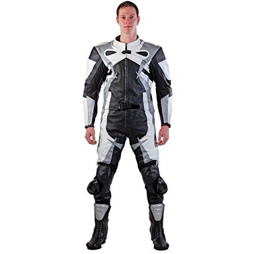 Lemoko Leder Motorradkombi Zweiteiler schwarz weiß silber Gr 3XL