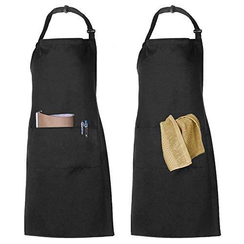 2 Pack Schürze Kochschürze Küchenschürze Latzschürze Verstellbarem Nackenband 100% Baumwolle für Frauen Männer Chef (Schwarz)