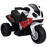 HOMCOM Elektro Kindermotorrad Kinderfahrzeug Lizenziert von BMW 18-36 Monaten Elektro-Dreirad mit Akku Rot PP + Stahl 66 x 37 x 44 cm