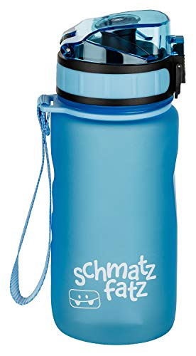 schmatzfatz Kinder Trinkflasche 350 ml, 1-klick Verschluss, auslaufsicher, mit Fruchtsieb (Hell Blau)