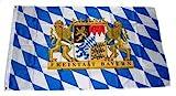 MM Freistaat Bayern Löwe Schrift Flagge/Fahne, wetterfest, mehrfarbig, 250 x 150 x 1 cm, 16284