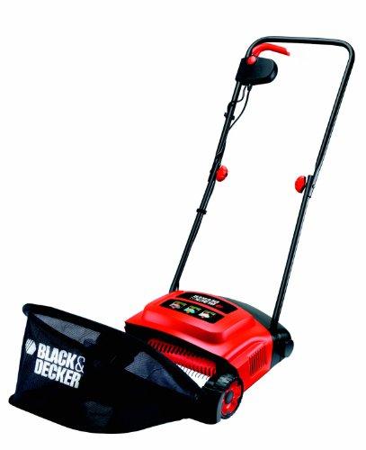 Black+Decker Elektro-Rasenlüfter (600W, zur ganzjährigen Rasenpflege, 30 cm Arbeitsbreite, 3 Arbeitshöhen) GD300, schwarz orange
