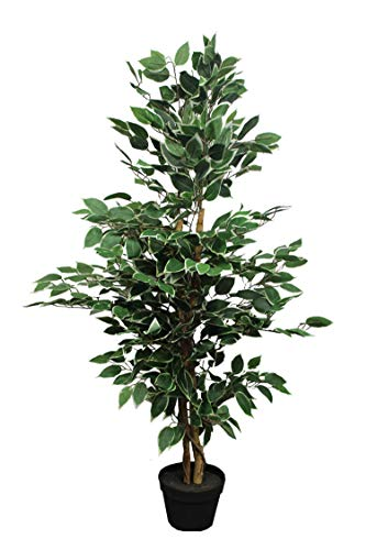 Spetebo Kunstpflanze Benjamini im Blumentopf - 115 cm - Deko Pflanze Zimmerpflanze künstlich Kunstbaum Birkenfeige