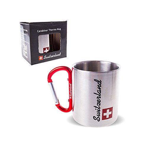 TopSpirit Doppelwandige Edelstahl Tasse Thermobecher Switzerland mit Karabiner 180 ml
