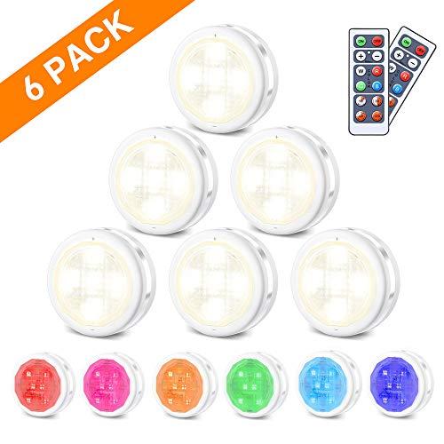 RGB Schrankleuchten LED Nachtlicht mit Fernbedienung 6er | Kabinett Beleuchtung | 10 Dimmstufen | 4 Timing-Funktion | Batteriebetrieben | für Innendekoration Kleiderschrank Schrank Lichter | SOLMORE