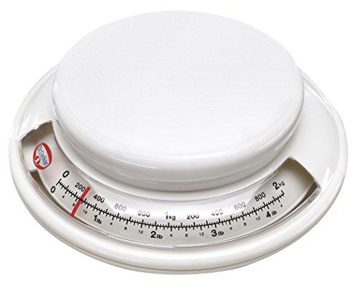 Dr. Oetker Backwaage Ø 17 cm, analoge Haushaltswaage, Waage für präzises Abwiegen, Küchenwaage mit Zuwiegefunktion (Farbe: weiß), Menge: 1 Stück